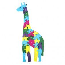 Деревянный пазл Жираф синий