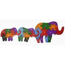 Деревянный пазл Семья слонов