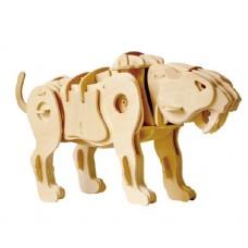 3D Деревянный пазл Robotime на звуковом управлении - Саблезубый тигр