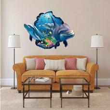 Наклейки на стену Водный мир Дельфины 60х90 см