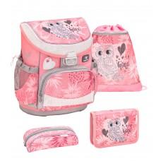 Ранец Belmil Mini-Fit - Owl Silver, Сова, розовый, с наполнением