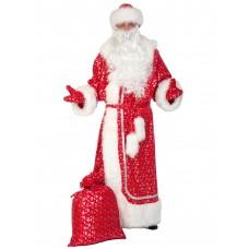 Карнавальный костюм Карнавалофф - Дед Мороз, плюш, красное серебро, взрослый, размер XL (56-58)