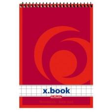 Блокнот Herlitz x.book спираль сверху А7 50 листов клетка, красный