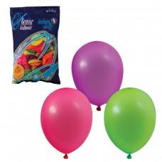 """Шары воздушные Веселая затея 10"""" (25 см), комплект 100 штук, 12 неоновых цветов"""