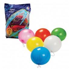 """Шары воздушные Веселая затея 16"""" (41 см), комплект 25 штук, панч-болл (шар-игрушка с резинкой), 12 неоновых цветов"""