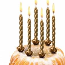 Свечи для торта Herlitz золотые с подсвечником, 10 штук