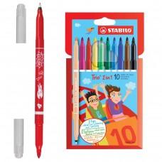 Фломастеры двусторонние Stabilo Trio, 10 цветов, капиллярная ручка с другой стороны