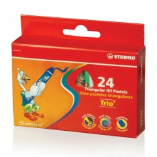 Восковые мелки утолщенные Stabilo Trio, на масляной основе, трехгранные, 24 цвета