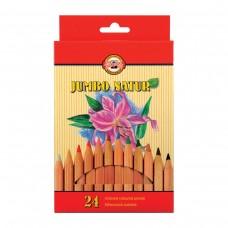 Карандаши цветные утолщенные Koh-I-Noor Jumbo natur, 24 цвета