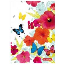 Книжка Herlitz записная А6 96 листов клетка, бабочки