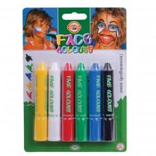 Грим для лица Koh-I-Noor, 6 цветов (белый, желтый, красный, синий, зеленый, черный)