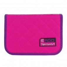 Пенал Tiger Family розовый-фиолетовый с наполнением, 1 отделение, 31 предмет