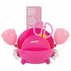 Канцелярский детский набор Юнландия - Краб, 4 предмета: подставка, линейка со скрепками, ножницы, ластик, цвет - розовый