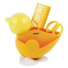 Канцелярский детский набор Юнландия - Цыпленок, 4 предмета: подставка, линейка со скрепками, ножницы, ластик, цвет желтый