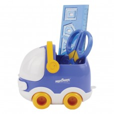 Канцелярский детский набор Юнландия - Автомобиль, 4 предмета: подставка, линейка со скрепками, ножницы, ластик, цвет синий