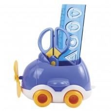 Канцелярский детский набор Юнландия - Самолет, 4 предмета: подставка, линейка со скрепками, ножницы, ластик, цвет - синий