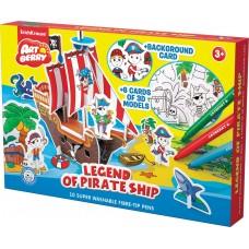 Игровой 3D пазл для раскрашивания Artberry Legend of Pirate Ship фломастеры 10 цветов