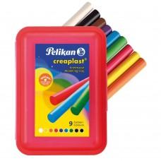Пластилин Pelikan Creaplast 198/4B, 9цв., пластиковая упаковка, красный