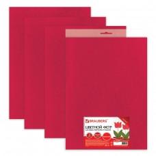 Цветной фетр для творчества Brauberg - Остров сокровищ, 400х600 мм, 3 листа, толщина 4 мм, плотный, красный