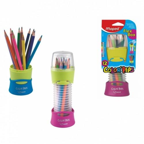 Карандаши цветные Maped Flex Box, 12 штук в пластиковом кейсе