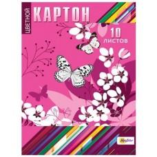 Картон цветной MagTaller А4 10 листов, бабочки