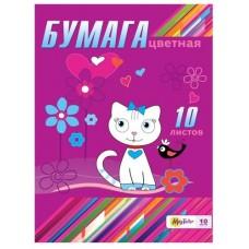 Бумага цветная MagTaller А4 10 листов, Cat
