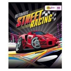 Тетрадь MagTaller А5 48 листов клетка, Street racing - красная машина