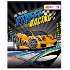 Тетрадь MagTaller А5 48 листов клетка, Street racing - оранжевая машина