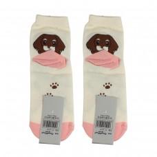 Носки женские AnimalWorld - Собачка, белые/розовые