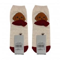 Носки женские AnimalWorld - Собачка, коричневые/бежевые