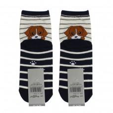 Носки женские AnimalWorld - Собачка, черно-белые полосы