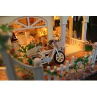 Деревянная миниатюра Сделай сам Кукольный домик с подсветкой Вилла на Средиземноморье