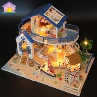 Деревянная миниатюра Сделай сам Кукольный домик с подсветкой Легенда голубого моря