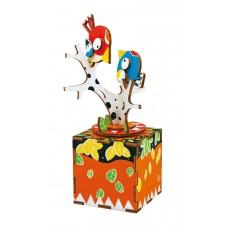 3D деревянный пазл Музыкальная шкатулка Поющая птичка на дереве