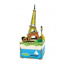 3D деревянный пазл Музыкальная шкатулка Эйфелева башня
