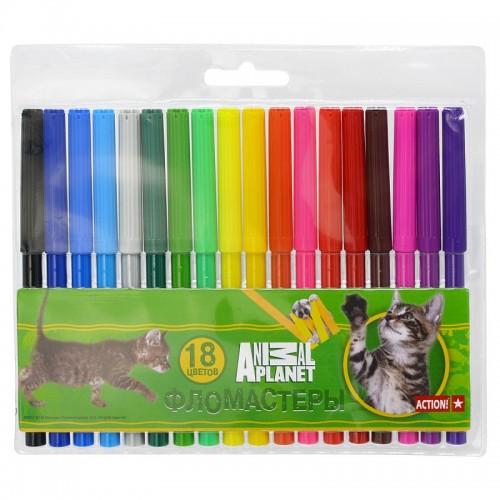 Набор фломастеров Action - Animal Planet, 18 цветов