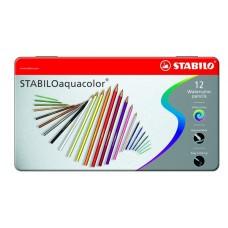 Набор акварельных цветных карандашей Stabilo aquacolor, 12 цветов, металлический футляр