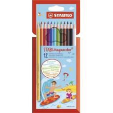 Набор акварельных цветных карандашей Stabilo aquacolor, 12 цветов