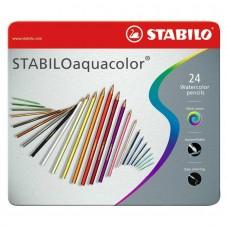 Набор акварельных цветных карандашей Stabilo aquacolor, 24 цвета, металлический футляр
