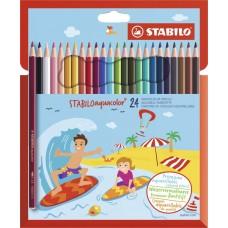 Набор акварельных цветных карандашей Stabilo aquacolor, 24 цвета