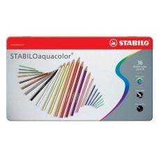 Набор акварельных цветных карандашей Stabilo aquacolor, 36 цветов, металлический футляр