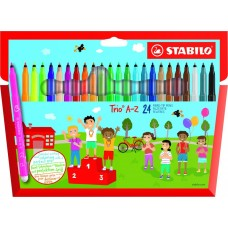 Фломастеры Stabilo с трехгранной зоной охвата Trio A-Z, 24 цвета