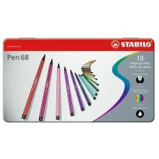 Набор профессиональных фломастеров Stabilo PEN 68, 10 цветов, метталический футляр
