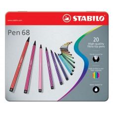 Набор профессиональных фломастеров Stabilo PEN 68, 20 цветов, метталический футляр