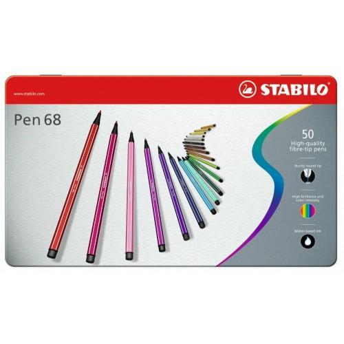 Набор профессиональных фломастеров Stabilo PEN 68, 50 цветов, метталический футляр
