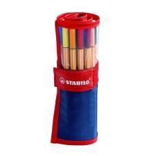 Набор капиллярных ручек Stabilo Point 88, 25 цветов в красно-синем нейлоновом футляре