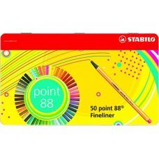 Набор капиллярных ручек Stabilo Point 88, 50 цветов, металлический футляр