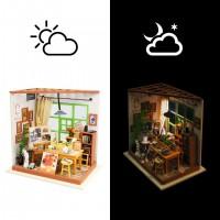 3D деревянный пазл Robotime Миниатюрный дом Рабочий кабинет Эда