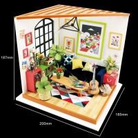 3D деревянный пазл Robotime Миниатюрный дом Гостиная Лукаса