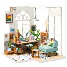 3D деревянный пазл Robotime Миниатюрный дом Гостиная